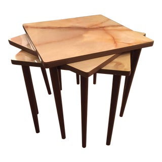Mid-Century Marble Laminate Top Nesting Tables - Set of 3