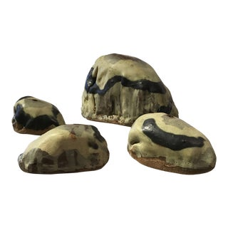 Rock Pottery Bud Vases- Set of 4 For Sale