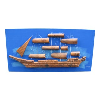 1960s Vintage Witco Wilrongo Tiki Wall Art Sailboat For Sale