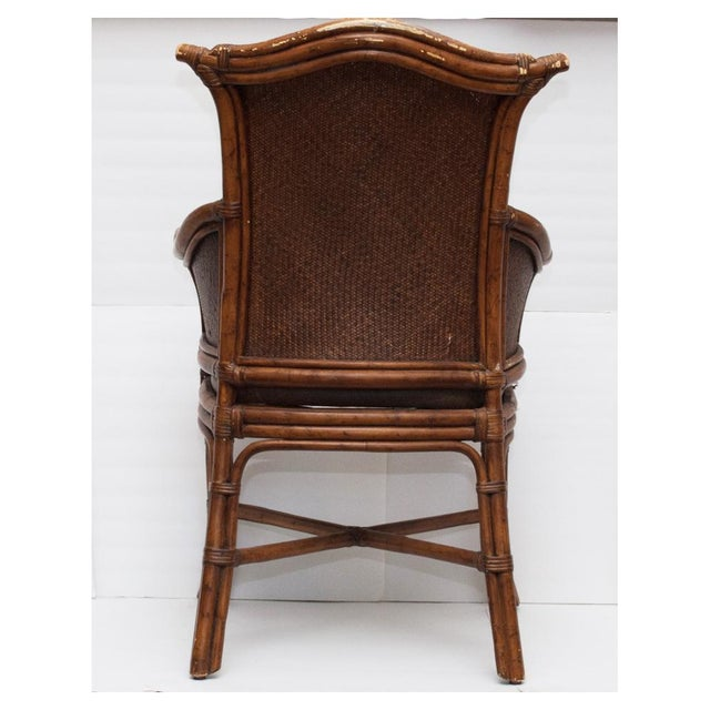 Vintage Chippendale Style Bamboo & Leather Chair - Image 6 of 9