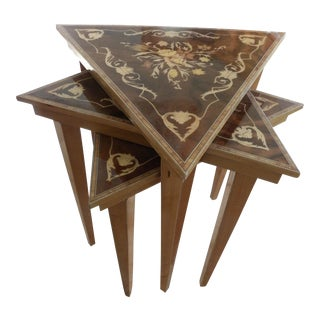 Vintage Italian Marquetry Nesting Tables - Set of 3