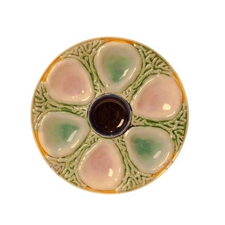1880s Majolica Oyster Plate For Sale