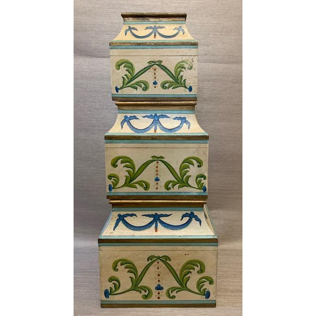 Antique Italian Leaves and Swags Painted Boxes - Set of 3 For Sale In New York - Image 6 of 11