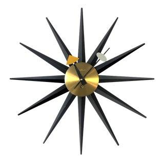 1950's Vintage George Nelson for Howard Miller Sunburst Spike Clock For Sale