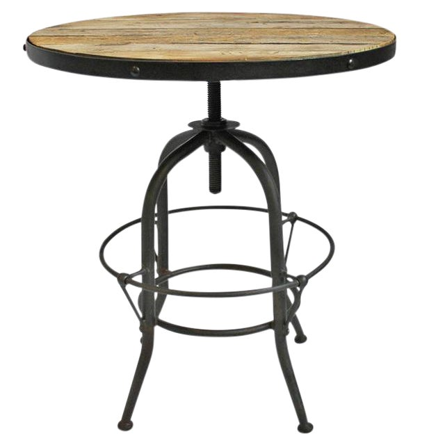 Industrial wood iron adjustable side table chairish for Iron and wood side table