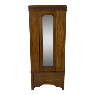 Antique English Hand Carved Walnut Hall Wardrobe For Sale