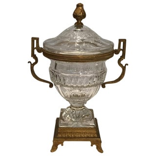 19th Century French Bronze Mounted Crystal Urn For Sale