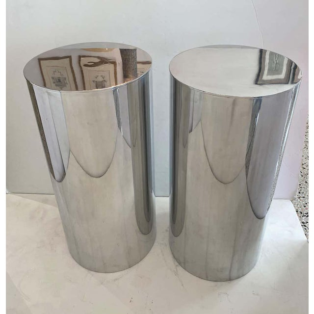 "Silver 33"" Drum Pedestals Stainless Steel by Paul Mayen for Habitat - a Pair For Sale - Image 8 of 11"