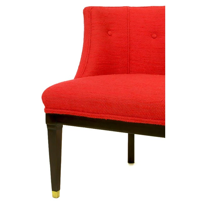 Pair of Button Tufted Red Wool and Dark Walnut Pull Up Wing Chairs - Image 9 of 10