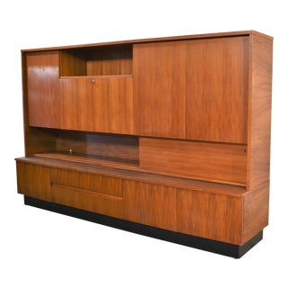 Teak Mid Century Modern Wall Storage Bookcase Cabinet With Drop Front Desk For Sale