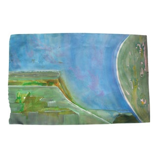 Blue & Green Abstract Watercolor For Sale