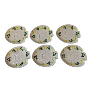 1970s Vintage Set Italian Majolica Bassano Fish Plates - Set of 6 For Sale