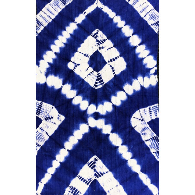 "African Bogolan Textile Mud Cloth Blue & White 40"" by 62 For Sale - Image 4 of 8"