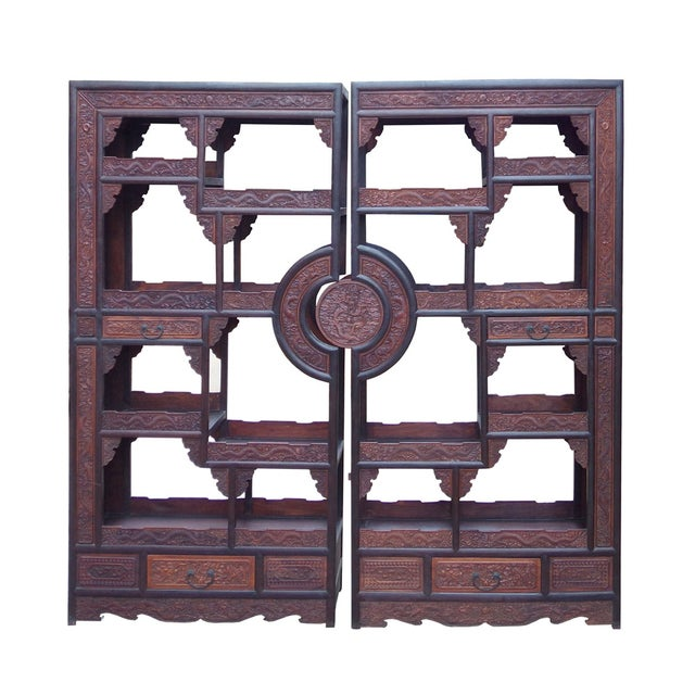 Chinese Rosewood Display Curio Cabinets - A Pair For Sale - Image 9 of 10