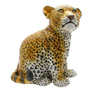 1960s Mid Century Vintage Italian Ceramic Leopard Statue For Sale