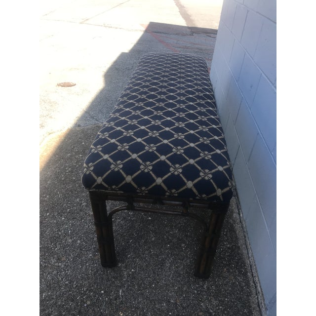 Excellent long rattan and upholstered Henredon bench. Perfect piece for end of bed, foyer, bay window... you name it! Gold...