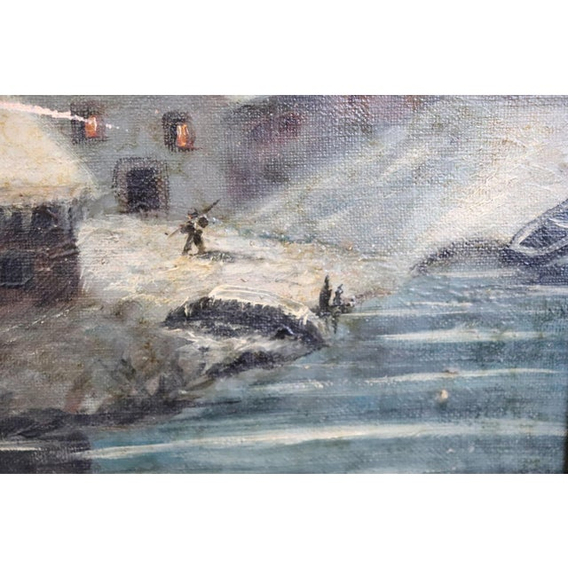 20th Century Italian Oil Painting on Canvas Winter Landscape For Sale - Image 6 of 10