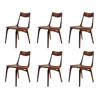 Erik Christensen Boomerang Chairs in Teak & Brown Leather, 1950s - Set of 6