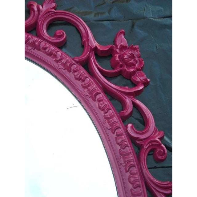 Mid-Century Hollywood Regency Pink French Mirror - Image 4 of 5