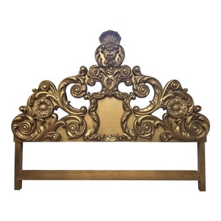 Carved Gold Giltwood King Headboard Bed For Sale