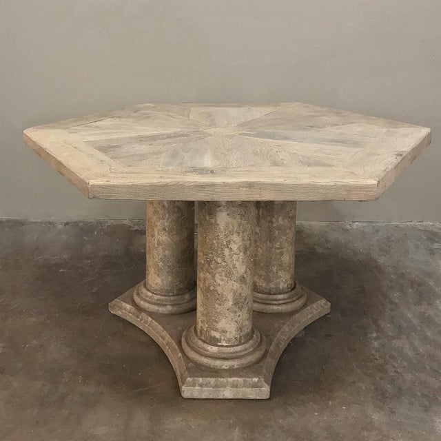Mid-Century Neoclassical Limestone and Oak Center Table For Sale - Image 13 of 13