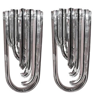Pair of Venini Curved Murano Glass Triedri Sconces (2 Pairs Available) For Sale