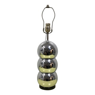 Kovacs Style Stacked Chrome Ball Table Lamp For Sale