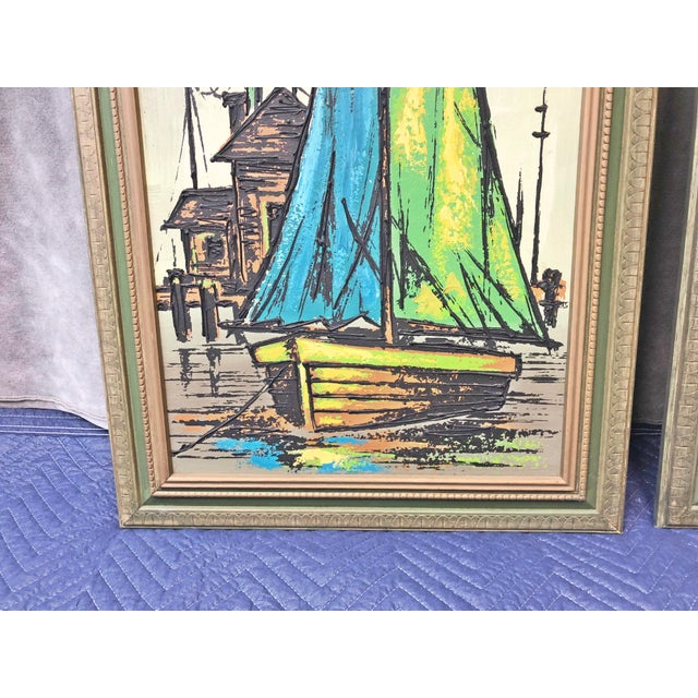 Americana Mid Century Modern Green Sailboat Signed and Framed Prints - a Pair For Sale - Image 3 of 10