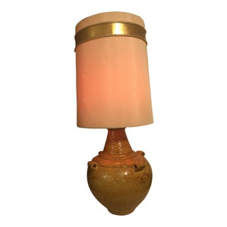 Mid Century Mustard Yellow Lava Glaze Pottery Lamp For Sale