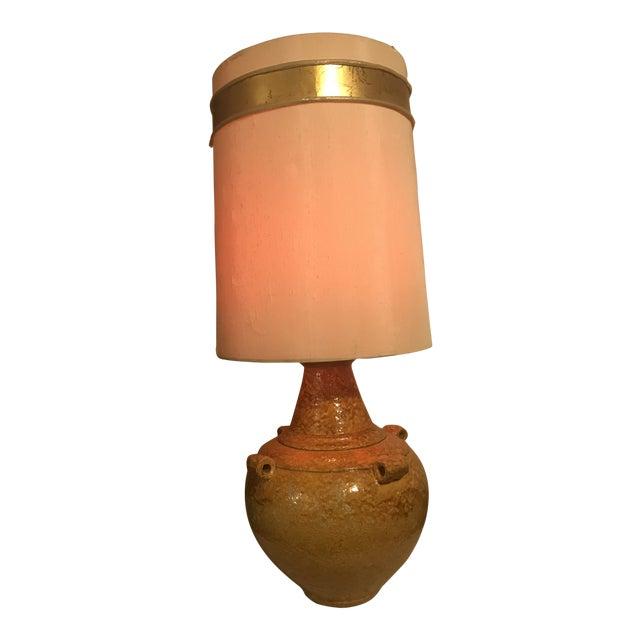 Mid Century Mustard Yellow Lava Glaze Pottery Lamp For Sale