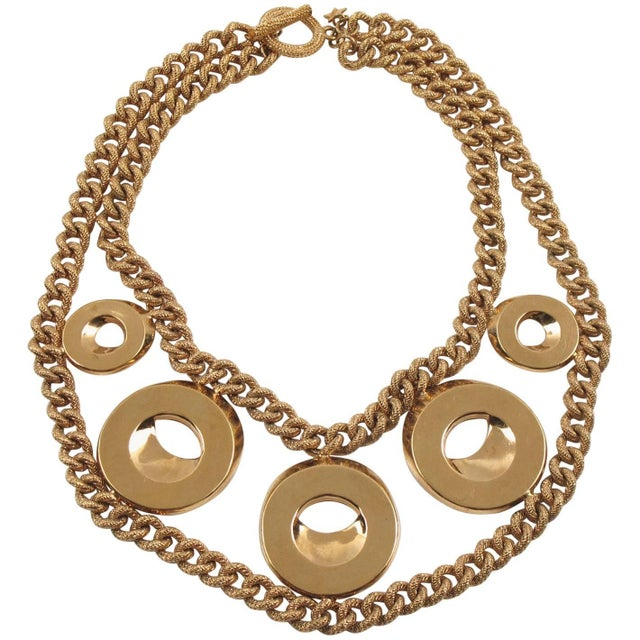Julie Borgeaud for Imai Large Gilt Metal Geometric Choker Necklace For Sale - Image 10 of 10