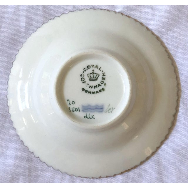 Royal Copenhagen Flora Danica caviar dish/butter pat. Number 20/3501. Measures: 7.5 cm. in diameter. This dish is from one...