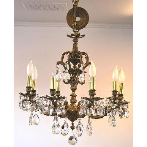 Antique Brass Chandelier - Image 2 of 4