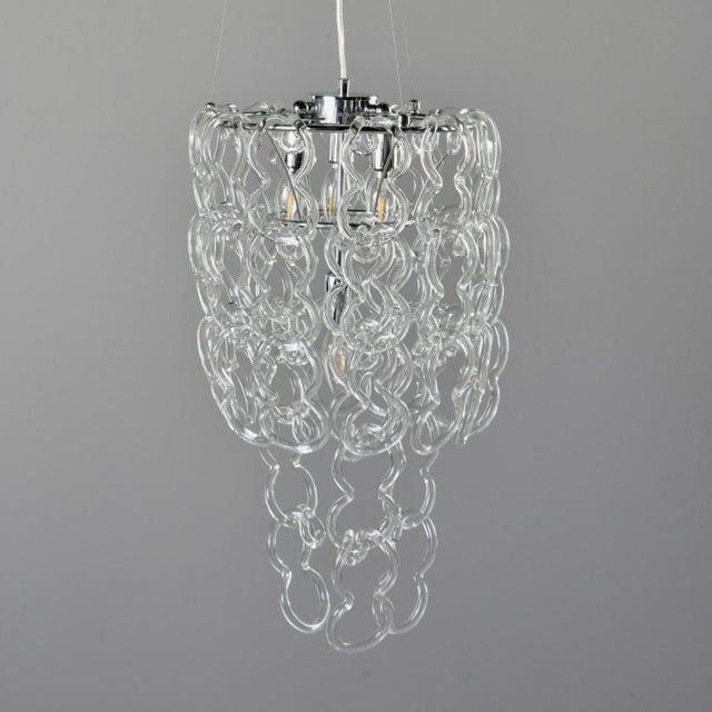 Angelo Mangiarotti Mid-Century Giogali Glass Link Chandelier by Mangiarotti for Vistosi For Sale - Image 4 of 13