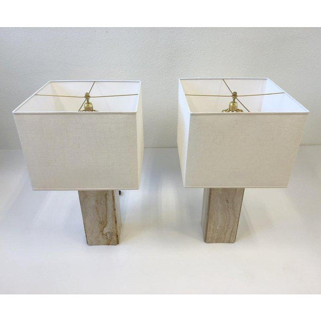 Contemporary Italian Travertine and Brass Table Lamps - a Pair For Sale - Image 3 of 10