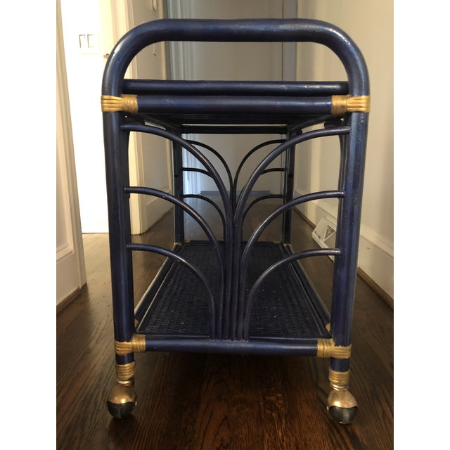 Paint 1960s Hollywood Regency Navy and Gold Rattan Bar or Tea Cart For Sale - Image 7 of 8
