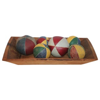 19th Century Oil Cloth Juggling/Carnival Balls Collection / 6 Pieces For Sale