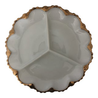 1950s Mid-Century Anchor Hocking Milk Glass Divided Relish Plate For Sale