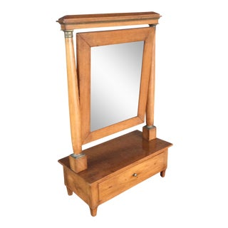 Biedermeier Dressing Table Mirror With Drawer For Sale