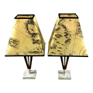 1960s Vintage Teak Marble Brass Italian Lamps - a Pair For Sale