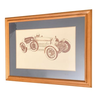 Late 20th Century C McNeil Large Bugatti Car Limited Edition Etching Print For Sale