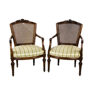 Early 19th Century Vintage Louis XV Style Walnut Armchairs- A Pair For Sale