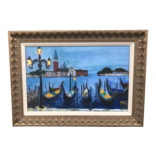 "1960s Traditional Oil on Canvas Painting of Venice, ""Evening on the Grand Canal"" For Sale"