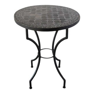 Moroccan Mosaic Black Color Bistro Tile Table For Sale