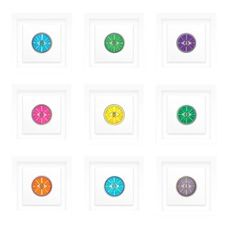 Natasha Mistry Framed Minimalist Framed Geometric Ink Drawings - Set of 9 For Sale