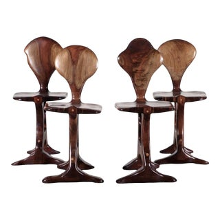Vintage Brutalist Brazilian Wood Chairs - Set of 4 For Sale