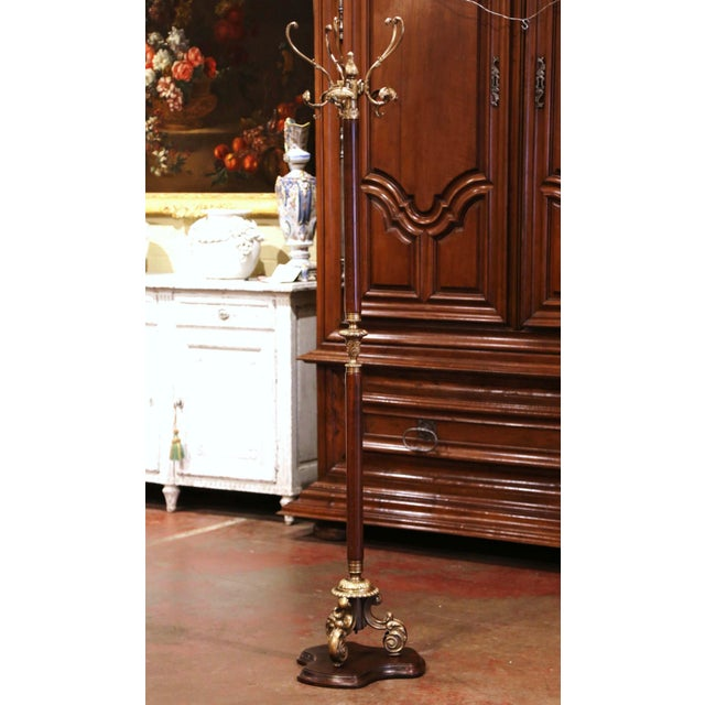 Brown Early 20th Century French Walnut and Gilt Brass Standing Hall Tree For Sale - Image 8 of 8