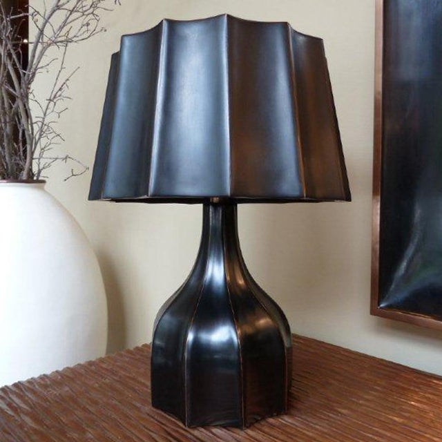 Contemporary Faceted Lamp and Shade - Black Lacquer For Sale - Image 3 of 3