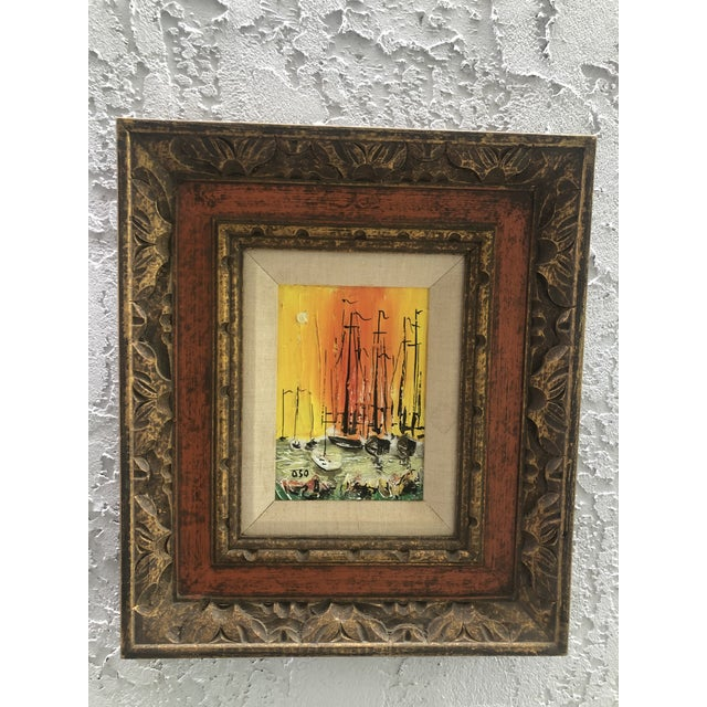 Nautical 1970s Style Modern Ships Small Painting For Sale - Image 3 of 11