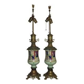 19th Century Chinese Export Celadon Famille Verte Porcelain & Bronze Lamps - a Pair For Sale